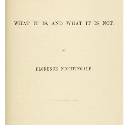 Notes on Nursing, Florence Nightingale. Frontespizio